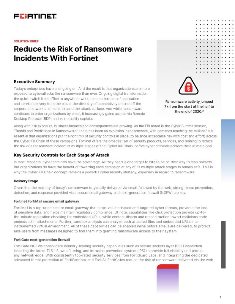 Reduce the Risk of Ransomware Incidents With Fortinet
