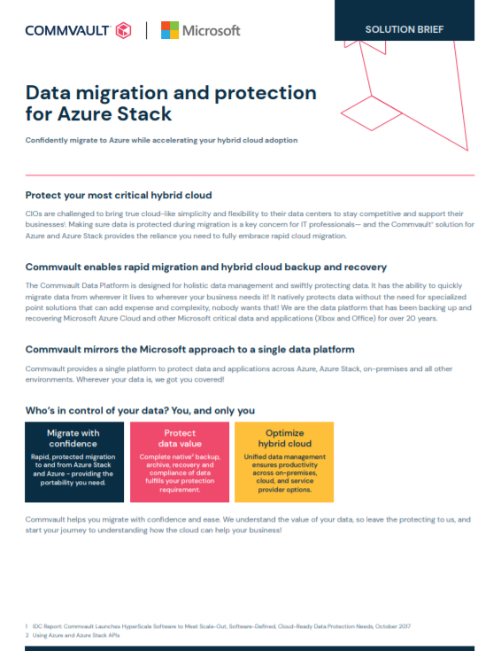 Solution Brief: Data Migration and Protection for Azure Stack