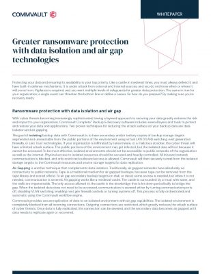 Greater ransomware protection with data isolation and air gap technologies