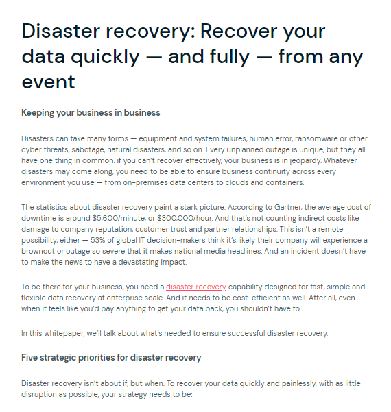 Disaster Recovery: Recover your data quickly – and fully – from any event