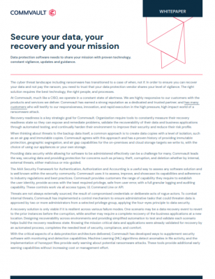 Secure your data, your recovery, and your mission