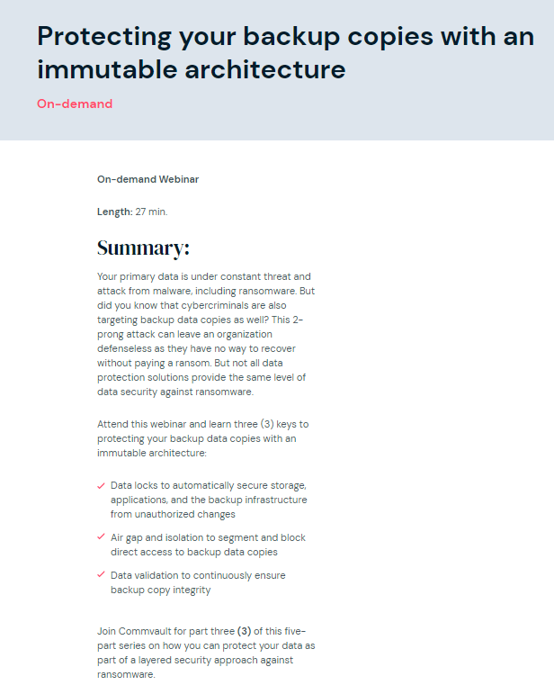 Ransomware recovery files – 3 of 5: Protecting your backup copies with an immutable architecture