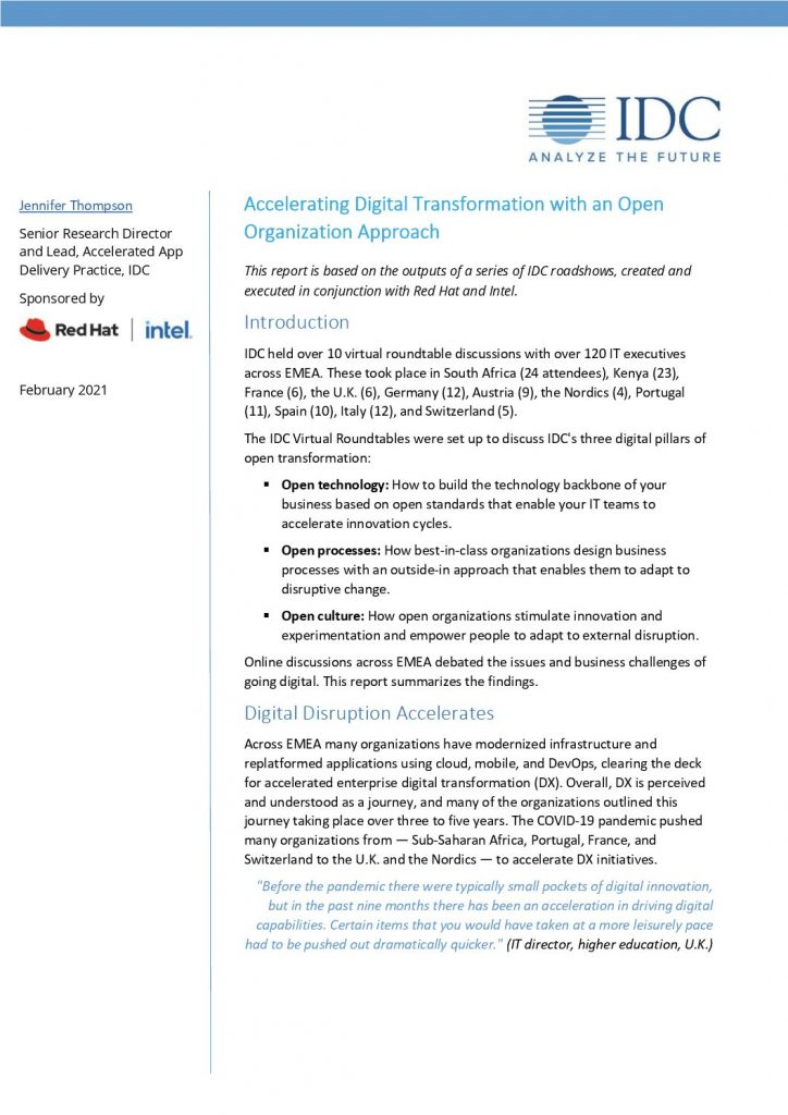Accelerating Digital Transformation with an Open Organization Approach