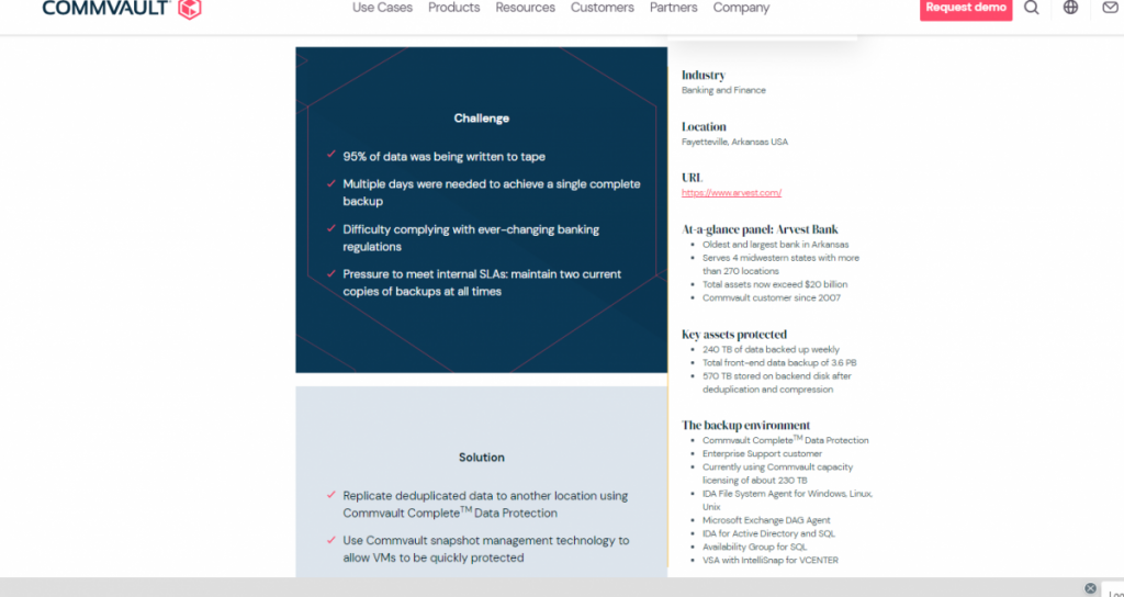 Arvest Bank Case Study – Commvault Complete™️ Data Protection