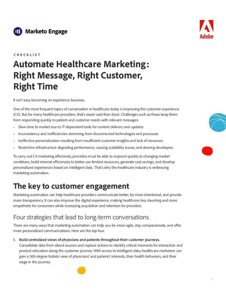 Automate Healthcare Marketing: Right Message, Right Customer, Right Time