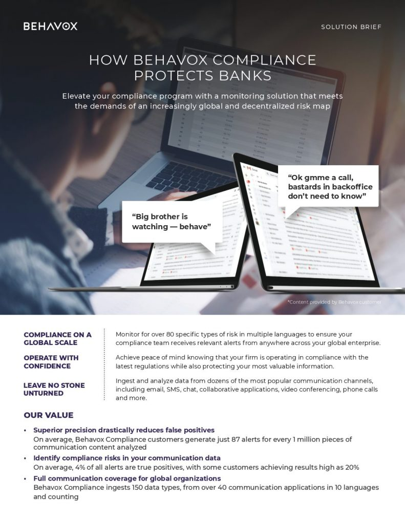 HOW BEHAVOX COMPLIANCE PROTECTS BANKS