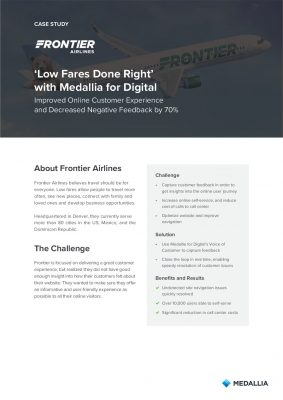 Frontier Airlines - Improved Online Customer Experience and Decreased Negative Feedback by 70%