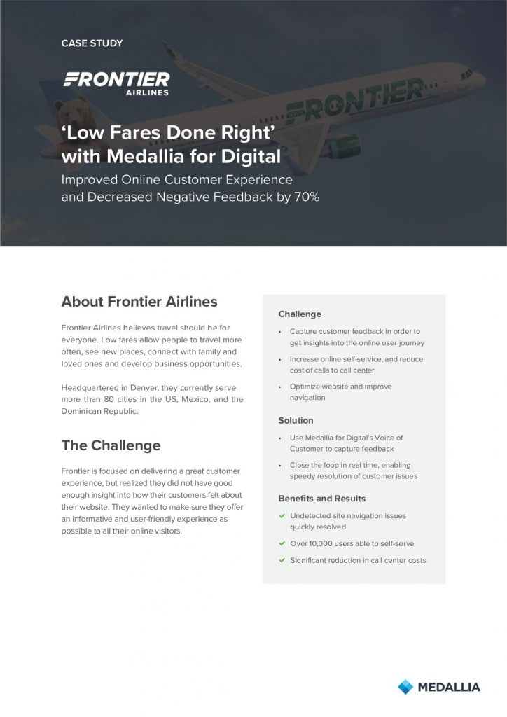 Frontier Airlines – Improved Online Customer Experience and Decreased Negative Feedback by 70%