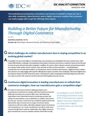 Building a Better Future for Manufacturing Through Digital Commerce