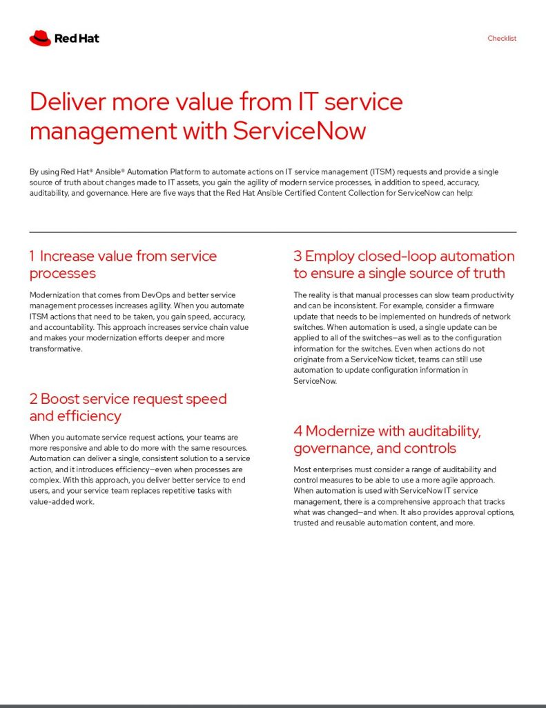 Deliver more value from IT service management with ServiceNow