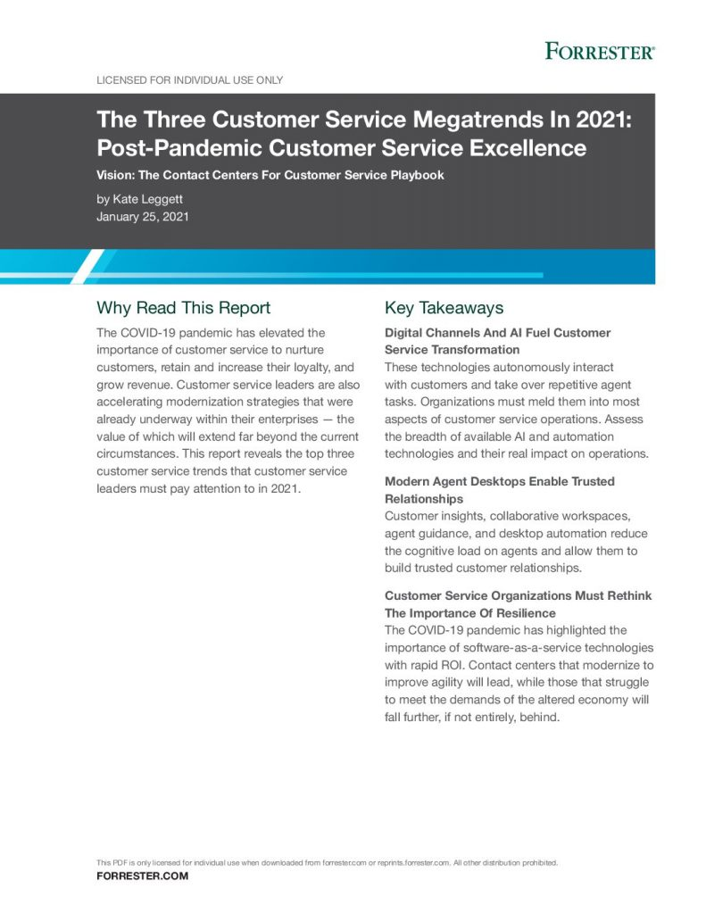 The Three Customer Service Megatrends In 2021: Post-Pandemic Customer Service Excellence