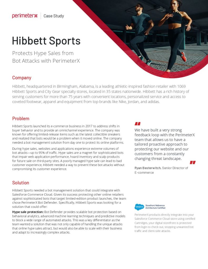Hibbett Sports Protects Hype Sales from Bot Attacks with PerimeterX