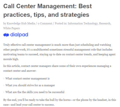 Call Center Management: Best practices, tips, and strategies