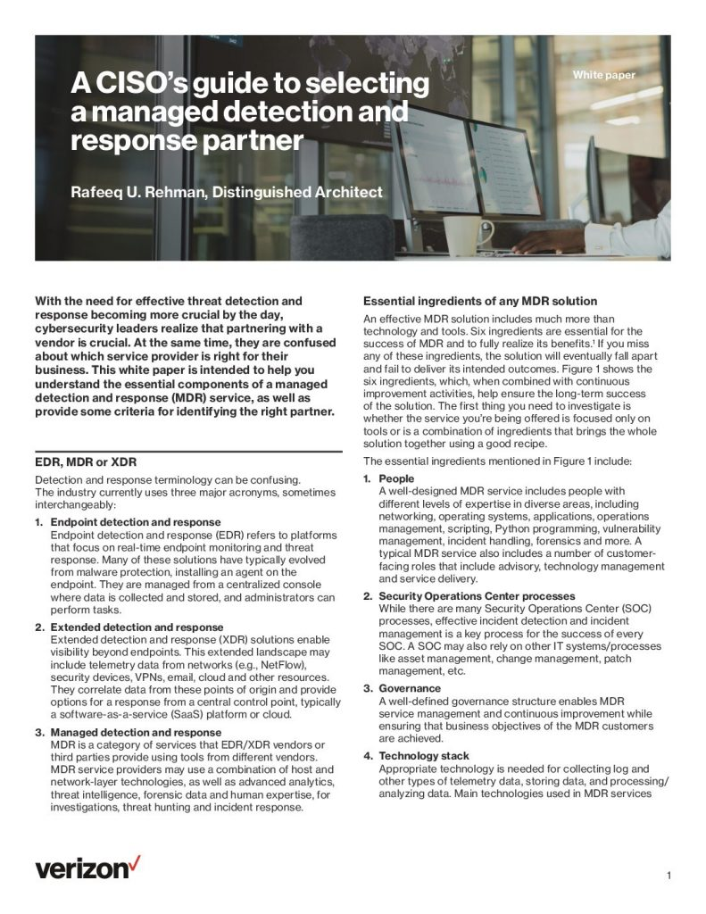 A CISO's Guide to selecting a managed detection and response partner