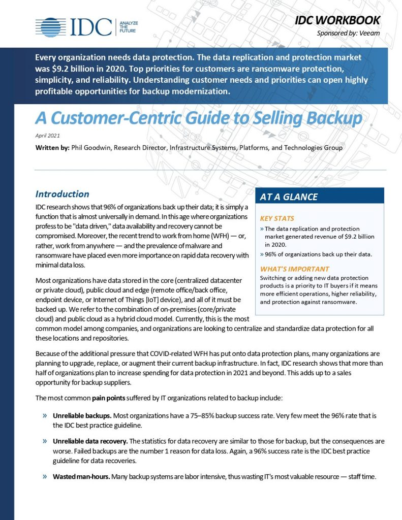 The Customer‑Centric Guide to Selling Backup. For resellers and distributors