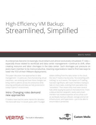 VMware Data Protection Streamlined with High-efficiency Backups. Lower TCO of VMware deployments