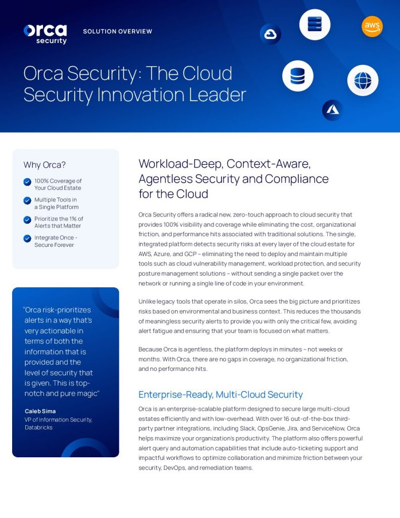 Orca Security: Workload-Deep, Context-Aware, Agentless Security and Compliance for the Cloud