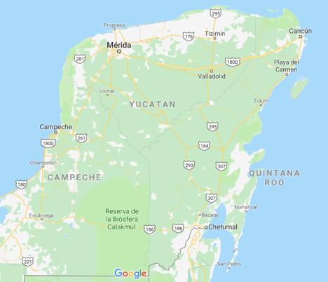 Yucatán Peninsula Map