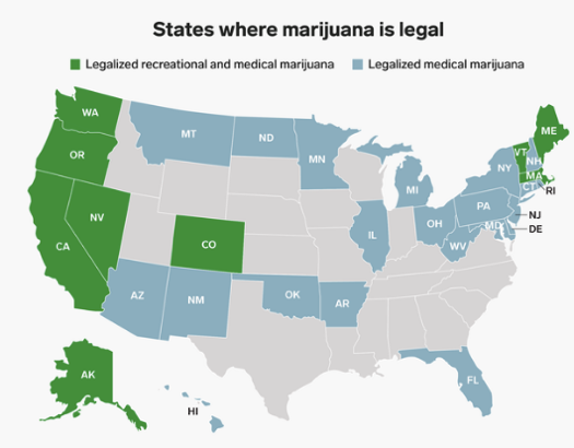 States in which Marijuana is Legal