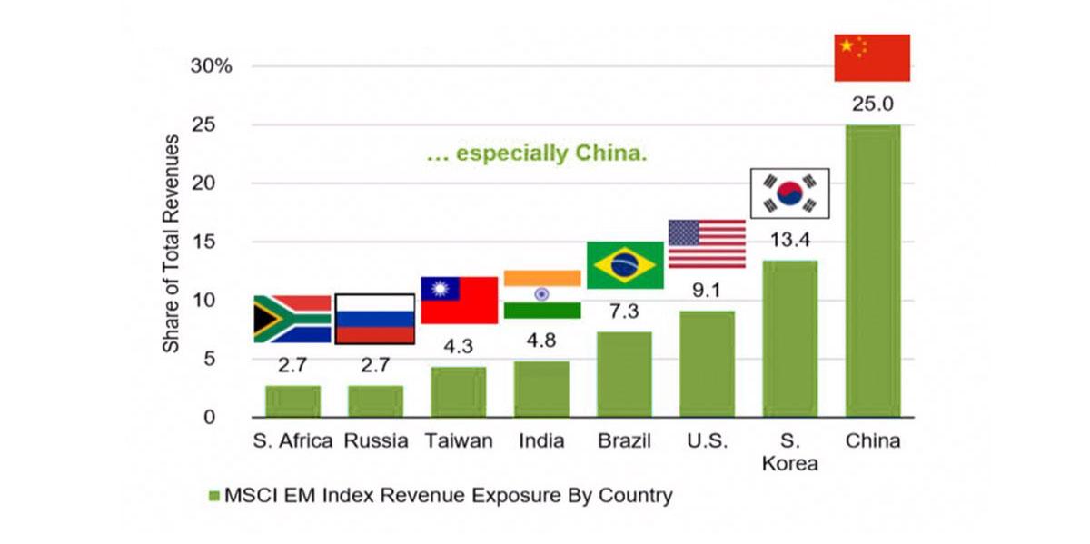 EM Companies' Revenue Shares by Select Country
