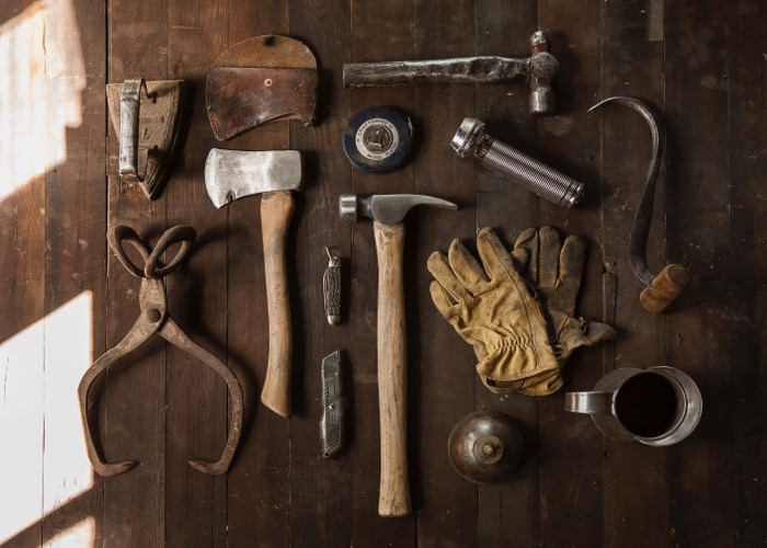 A selection of woodworking tools.