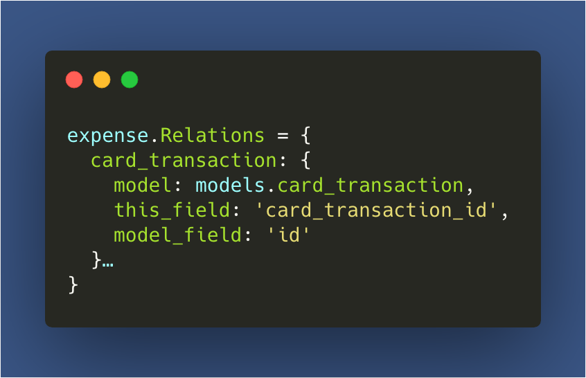 An example of a relation on the expense model