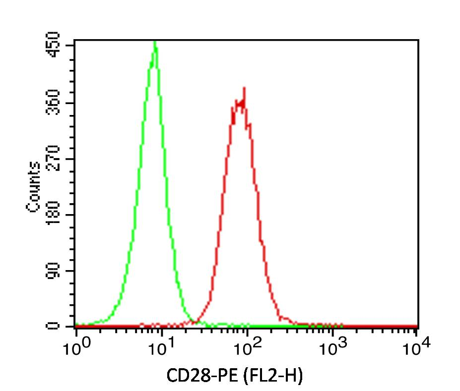 Figure-1: Cell surface Flow analysis  of hCD28 in Jurkat  cells using 0.5 ug/ 10^6  cells. Green represents isotype control (ABEOMICS);red represents anti-hCD28 antibody (10-4137).  Goat anti-mouse PE conjugated secondary antibody (ABEOMICS) was used. (Cells were incubated with primary antibody for 30 min. then washed twice with FLOW Staining buffer (ABEOMICS) by centrifuging at 1100 rpm for 5 min, followed by 30 min incubation with conjugated secondary antibody. Data acquisition was done after washing twice with Staining buffer).