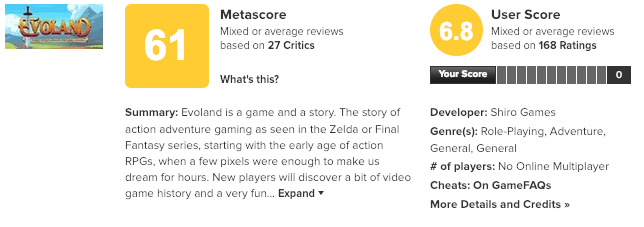 Metacritic Evoland Screenshot