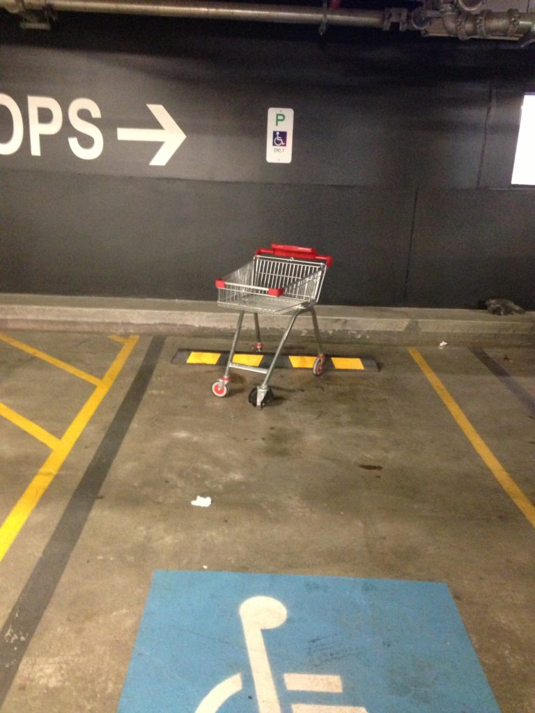 Trolley in an accessible parking space.