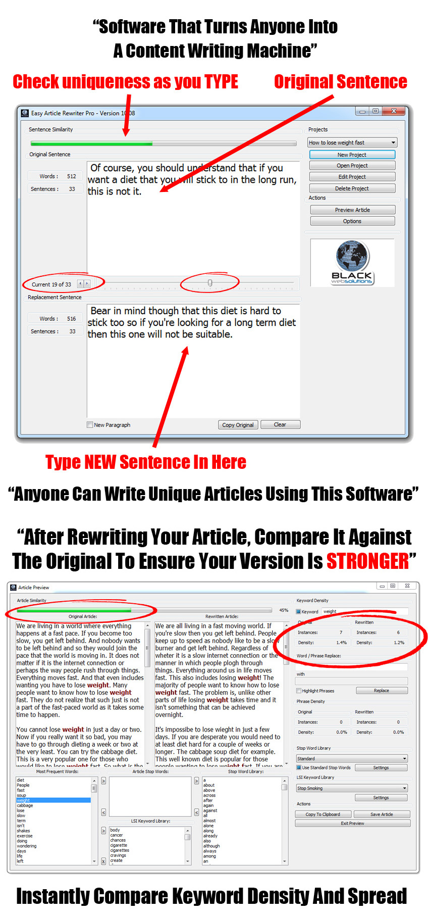 Powerful content writing software to create unique content