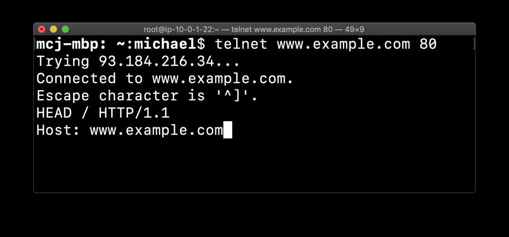 Telnet HTTP header request