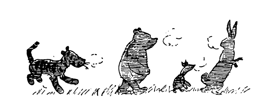 Tigger, Winnie-the-Pooh, Piglet and rabbit traveling toward the right, black and white outline