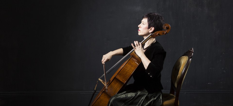 Cellist Diane Chaplin playing the cello