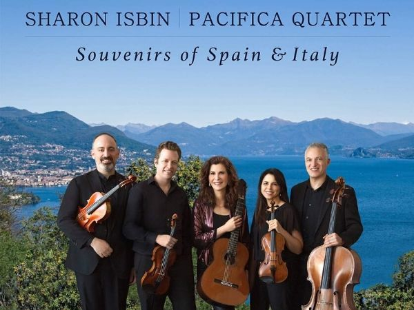 classical musicians in front of italian coast