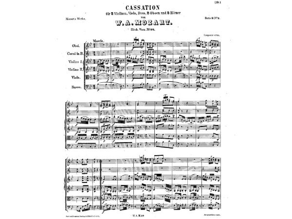 sheet music of mozart's cassation