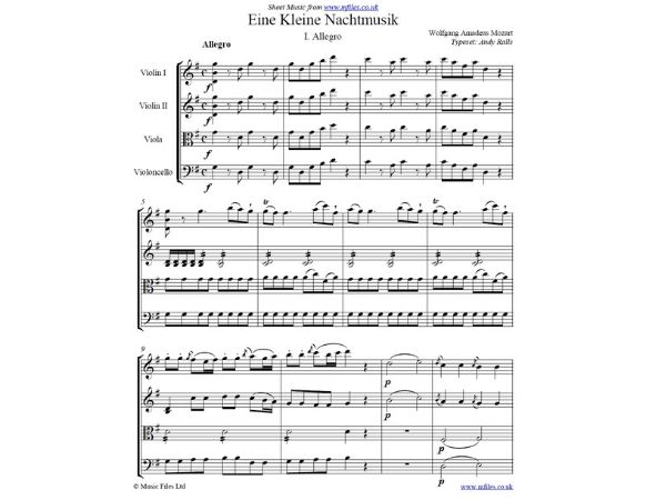 Mozart sheet music