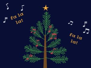 christmas tree and music notes