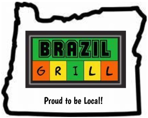 Brazil Grill logo with the outline of Oregon