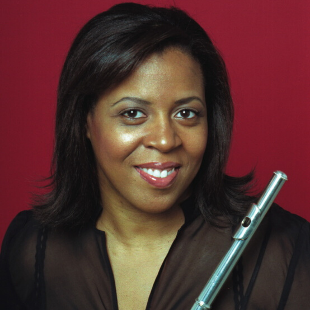 Woman with flute against red background
