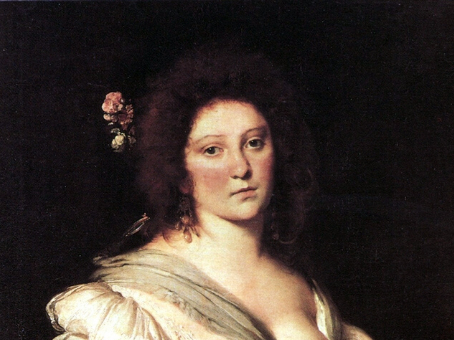 painting of woman with brown hair