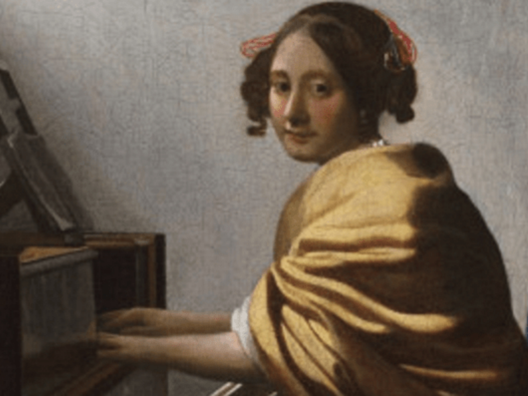 painting of woman sitting at piano