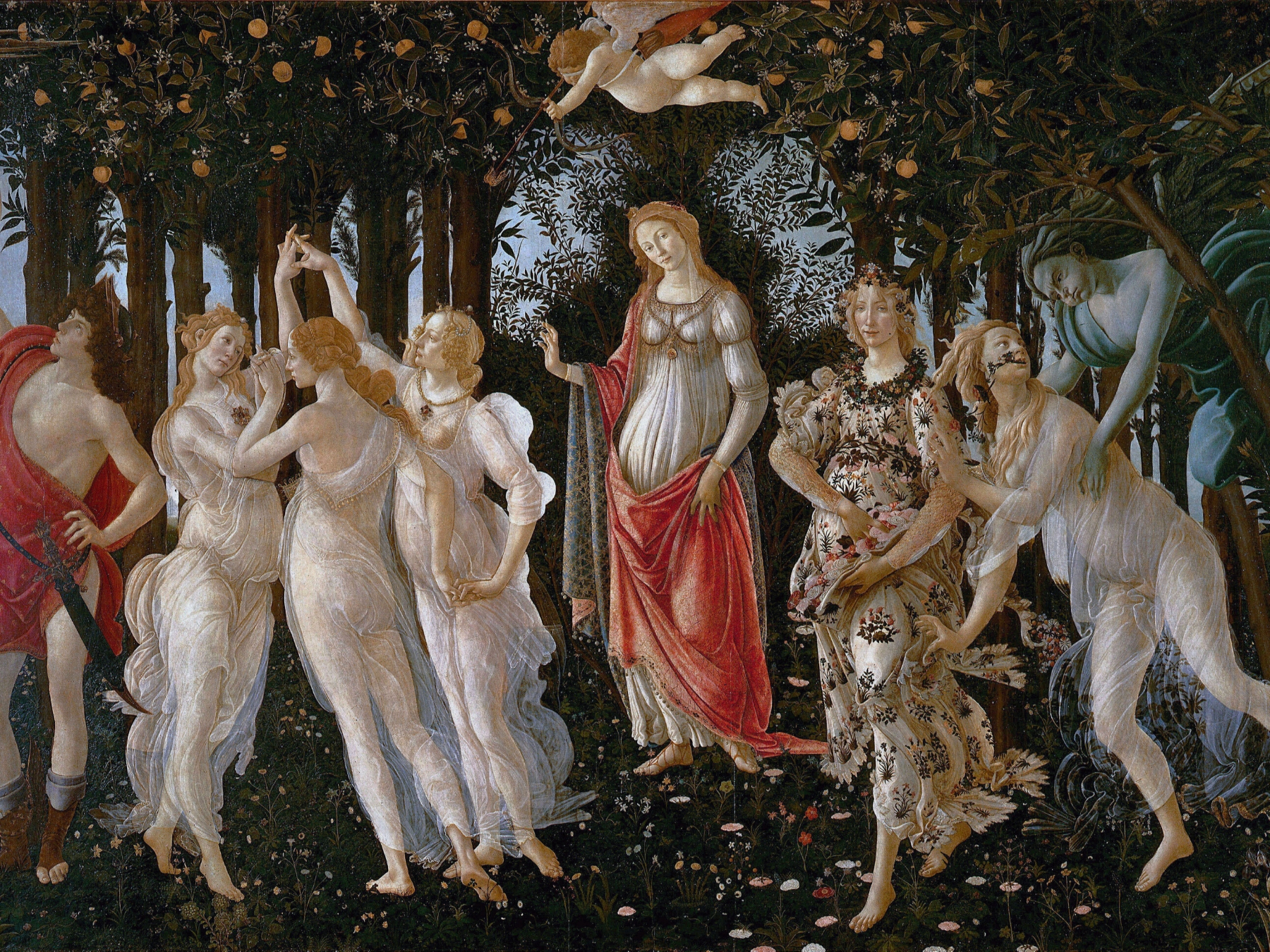 botticelli painting of woman in forest