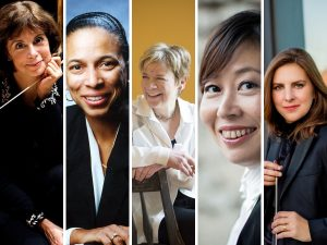 five photos of women conductors