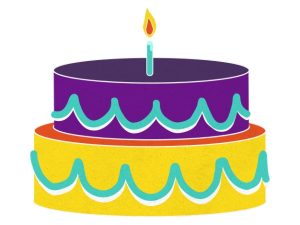 illustration of colorful birthday cake
