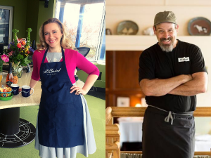 Suzanne Nance and Greg Higgins in aprons