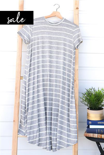 Stripe Swing Dress - Grey