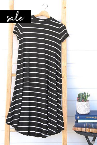 Stripe Swing Dress - Black