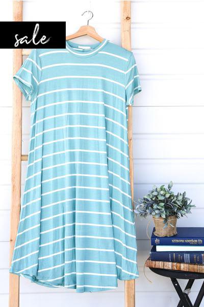 Stripe Swing Dress - Teal