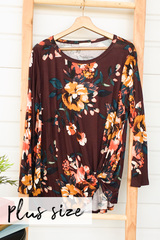 Floral Knot Top - Burgundy
