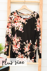 Floral Knot Top-Black